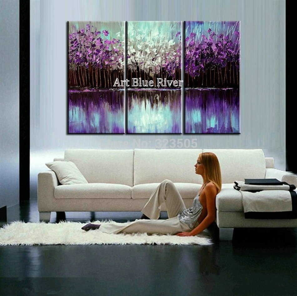 3 Piece Abstract Canvas Art Painting Triptych Home Goods Wall Art With Most Current Home Goods Wall Art (Gallery 6 of 20)