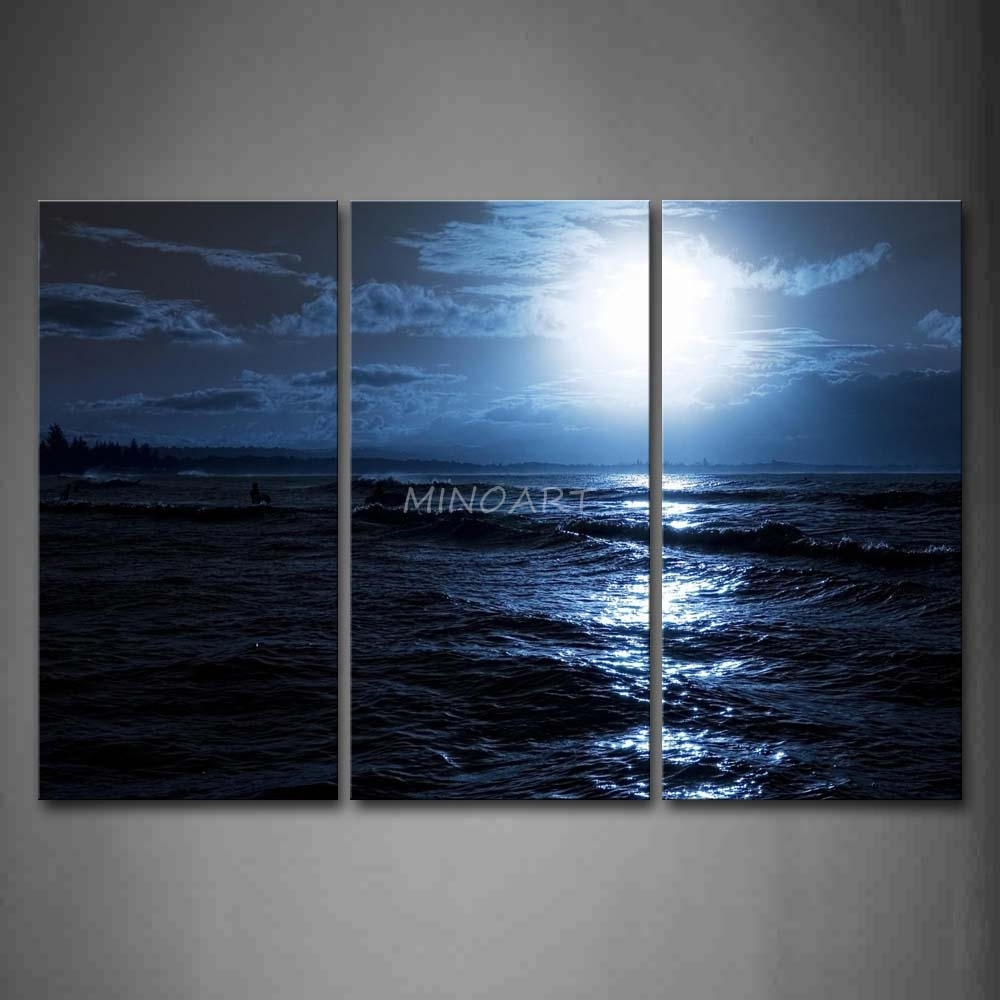 3 Piece Blue Wall Art Painting Ocean At Night Bright Moon Picture Inside Recent Ocean Wall Art (View 2 of 20)