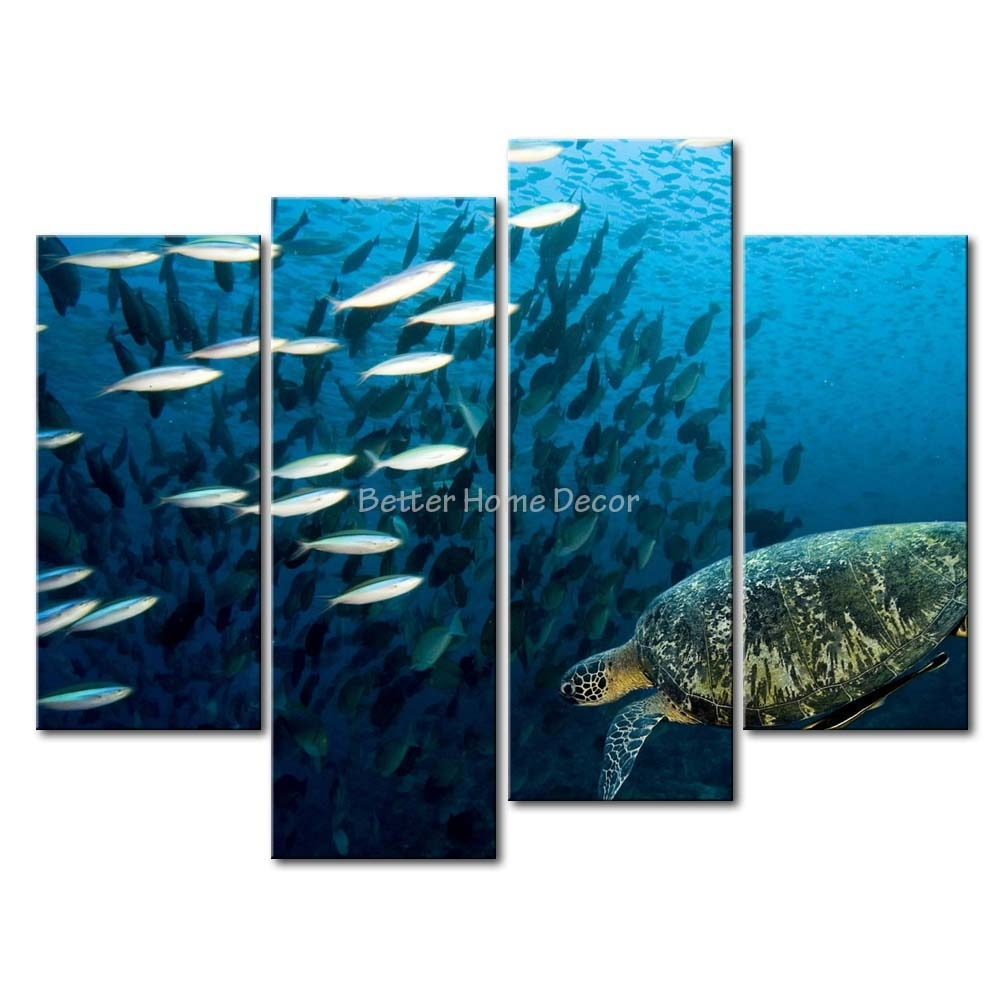 3 Piece Blue Wall Art Painting Sea Turtle Underwater Picture Print For Most Current Sea Turtle Canvas Wall Art (Gallery 6 of 20)