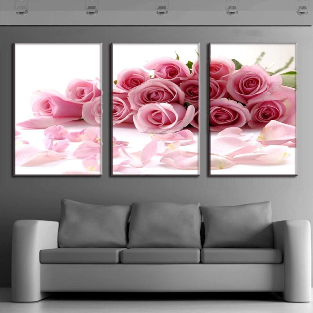 3 Piece Canvas Art Flower Canvas Print Rose Bouquet Pink Modern Wall Pertaining To Most Recently Released Modern Framed Wall Art Canvas (Gallery 3 of 20)