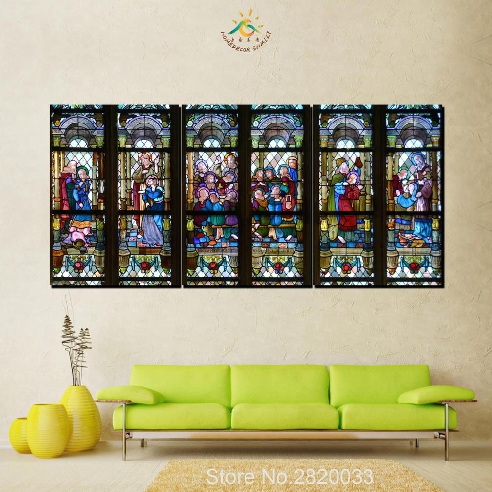 3 Piece Christian Stained Glass Style Flower Glass Canvas Wall Art In 2017 Stained Glass Wall Art (Gallery 5 of 20)