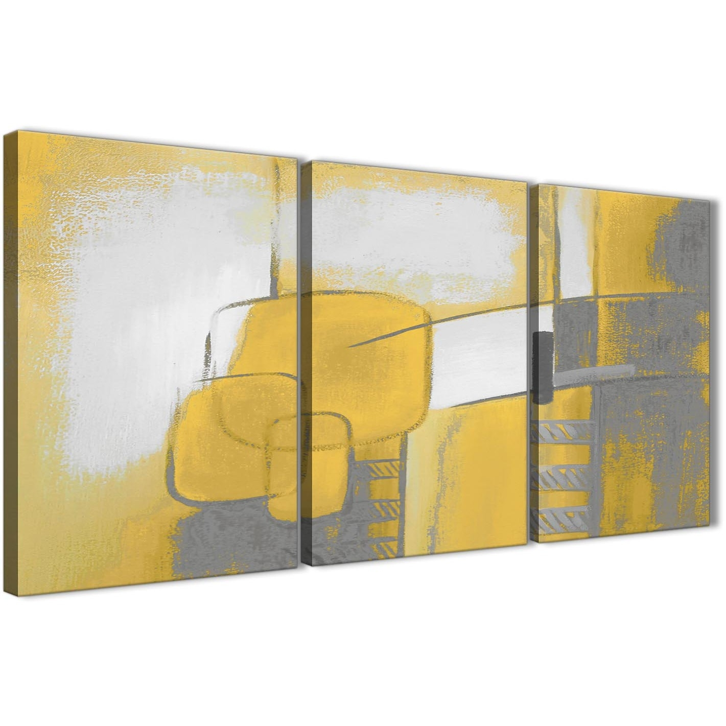 3 Piece Mustard Yellow Grey Painting Kitchen Canvas Pictures Decor Throughout Current Kitchen Canvas Wall Art Decors (View 3 of 20)