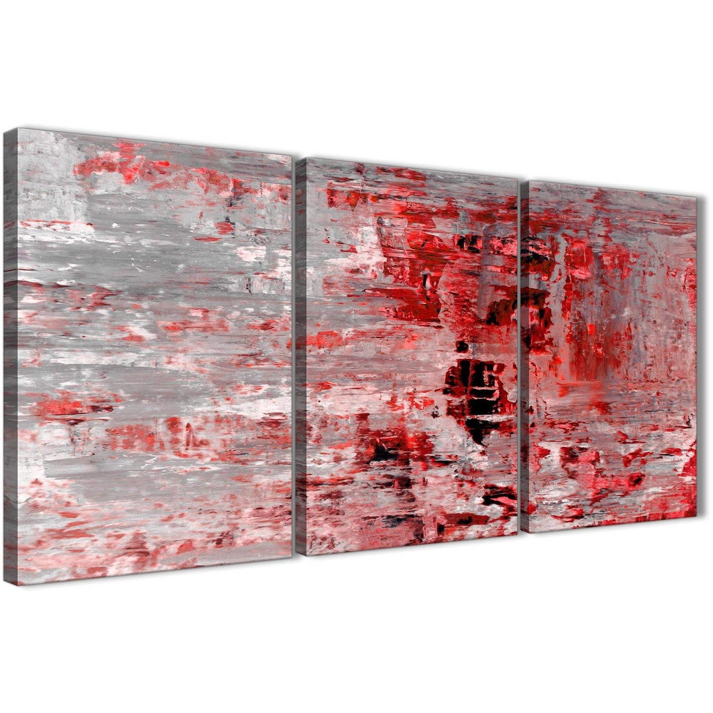3 Piece Red Grey Painting Living Room Canvas Wall Art Decor For Most Recent Red Wall Art (View 2 of 15)