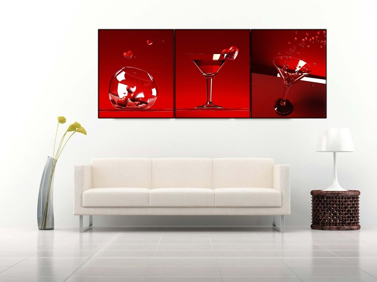 3 Piece Red Wine Cups Wall Art On Canvas With Stretched Frame Ready Inside 2017 3 Piece Canvas Wall Art (View 4 of 15)
