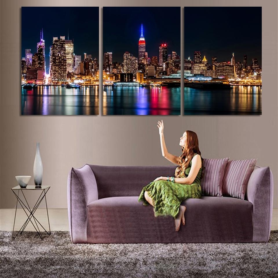 3 Piece/set Wall Art City Hall Night Lights Beside River Wall For Latest 3 Piece Canvas Wall Art (Gallery 1 of 15)