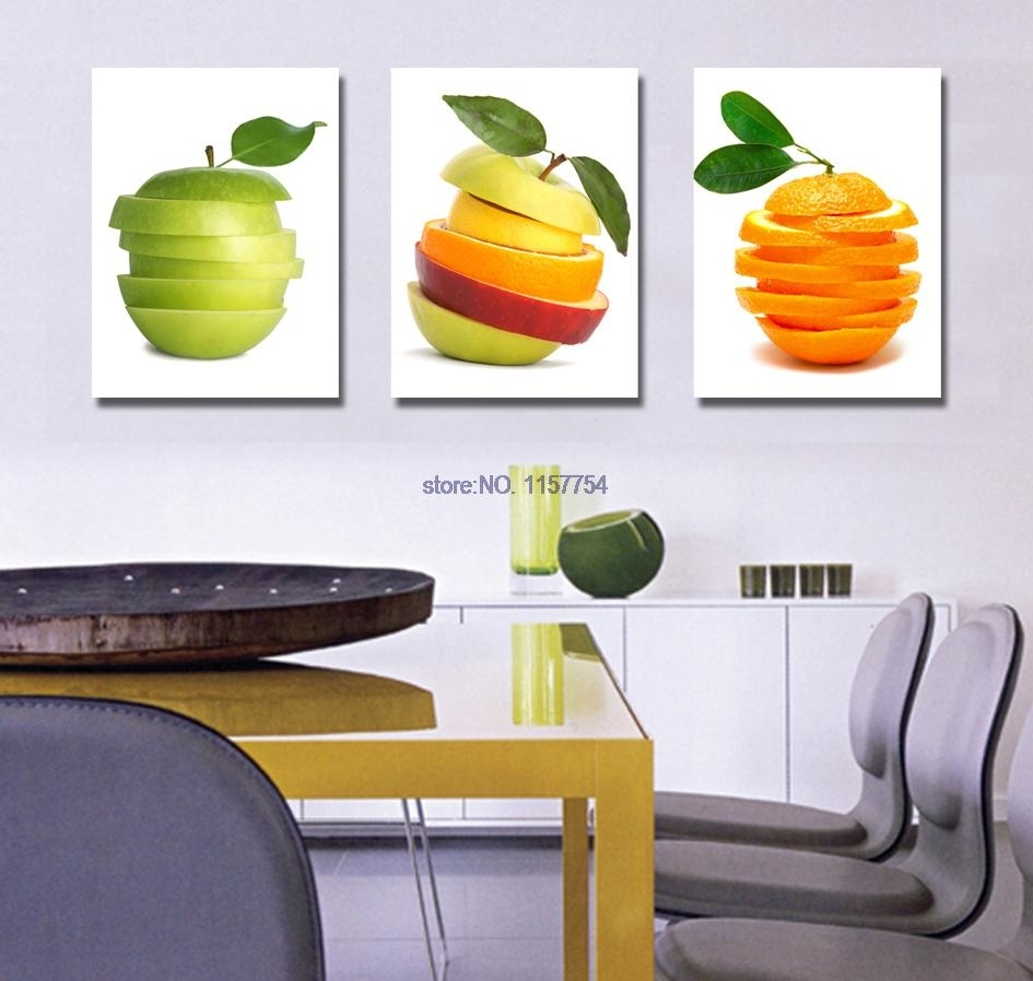 3 Piece Wall Art Fruit Spray Painting For Kitchen Canvas Art Canvas Regarding Most Up To Date Kitchen Canvas Wall Art Decors (Gallery 5 of 20)