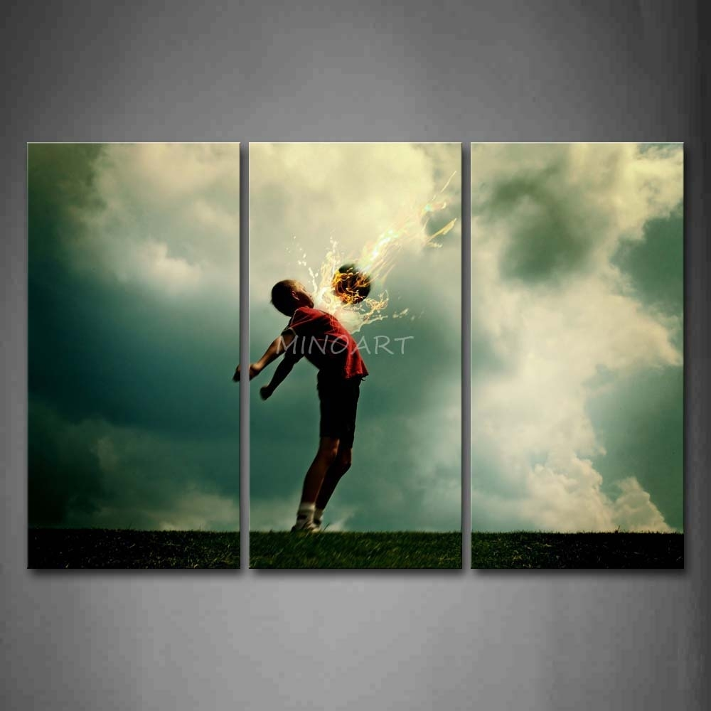 3 Piece Wall Art Painting A Kid And Soccer Surroundedfire Intended For Most Up To Date Soccer Wall Art (View 4 of 20)