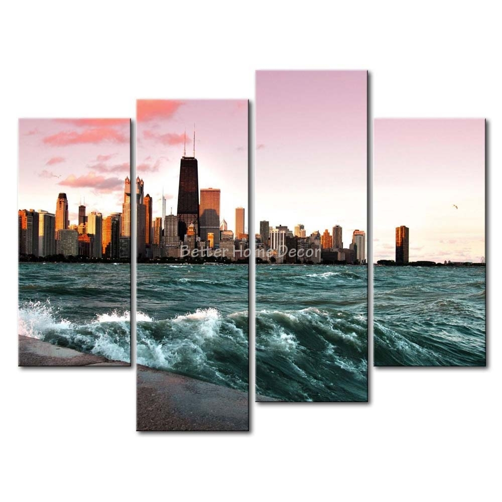 3 Piece Wall Art Painting Chicago And Lake Michigan Picture Print On With Best And Newest Chicago Wall Art (Gallery 1 of 15)