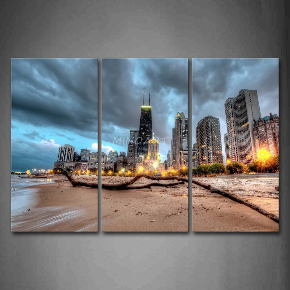 3 Piece Wall Art Painting Chicago Trunk On Beach Near Modern Regarding 2018 Chicago Wall Art (View 3 of 15)