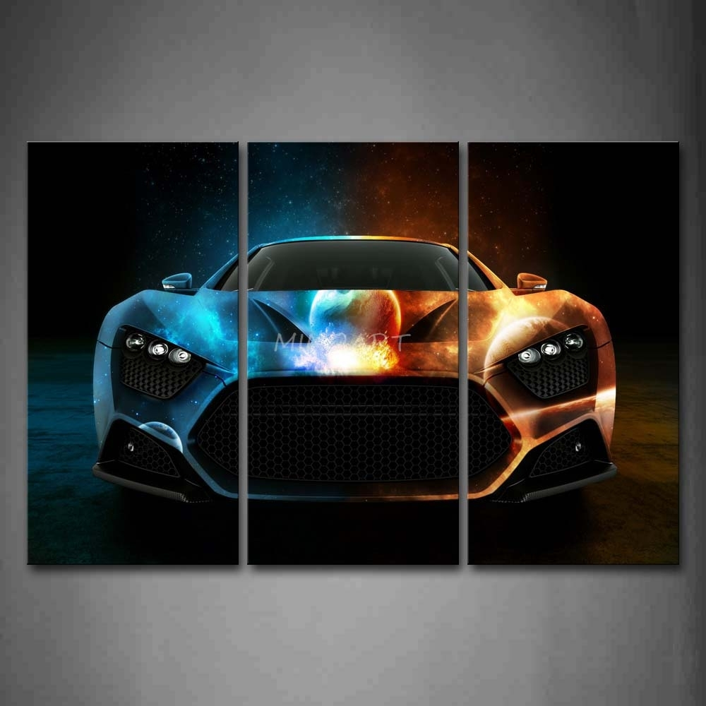 3 Piece Wall Art Painting Cool Space Car In Bright Color Print On Intended For Most Up To Date Car Canvas Wall Art (View 4 of 20)