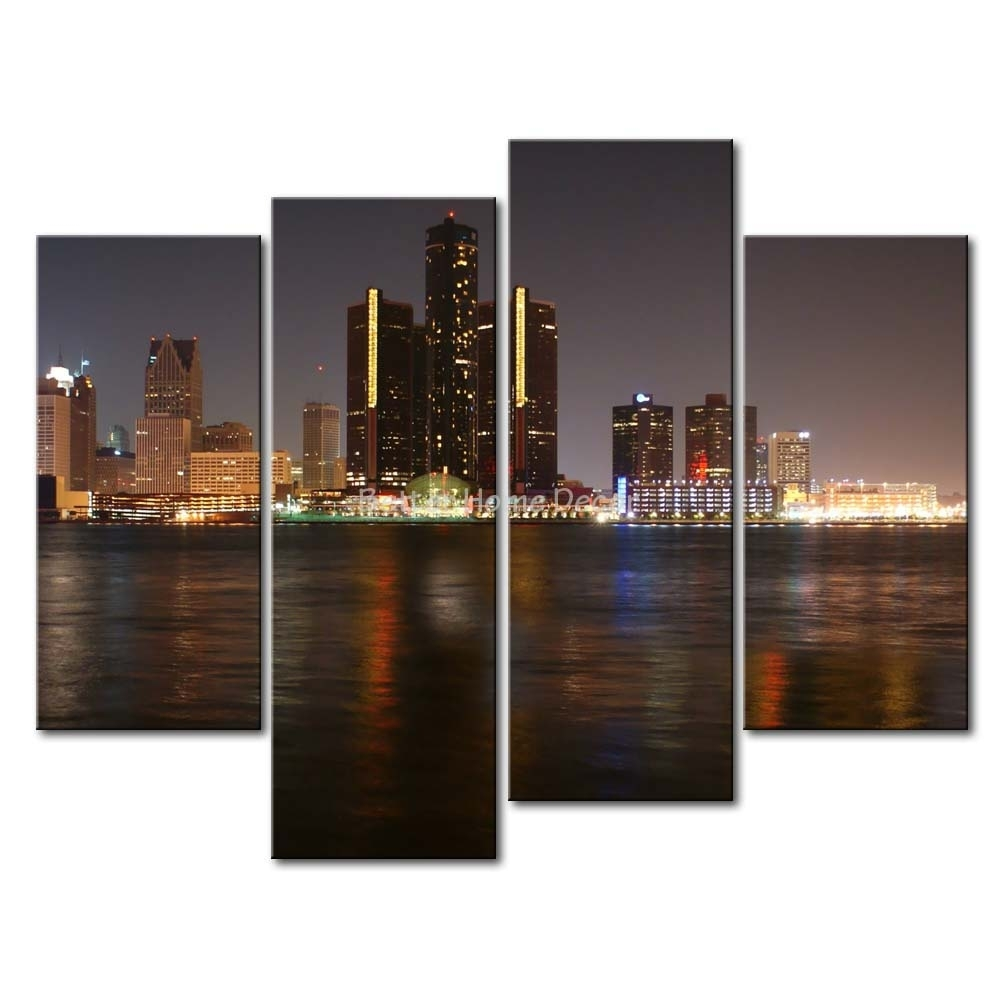 3 Piece Wall Art Painting Detroit Skyline Print On Canvas The Pertaining To Most Popular Multi Piece Wall Art (View 2 of 20)
