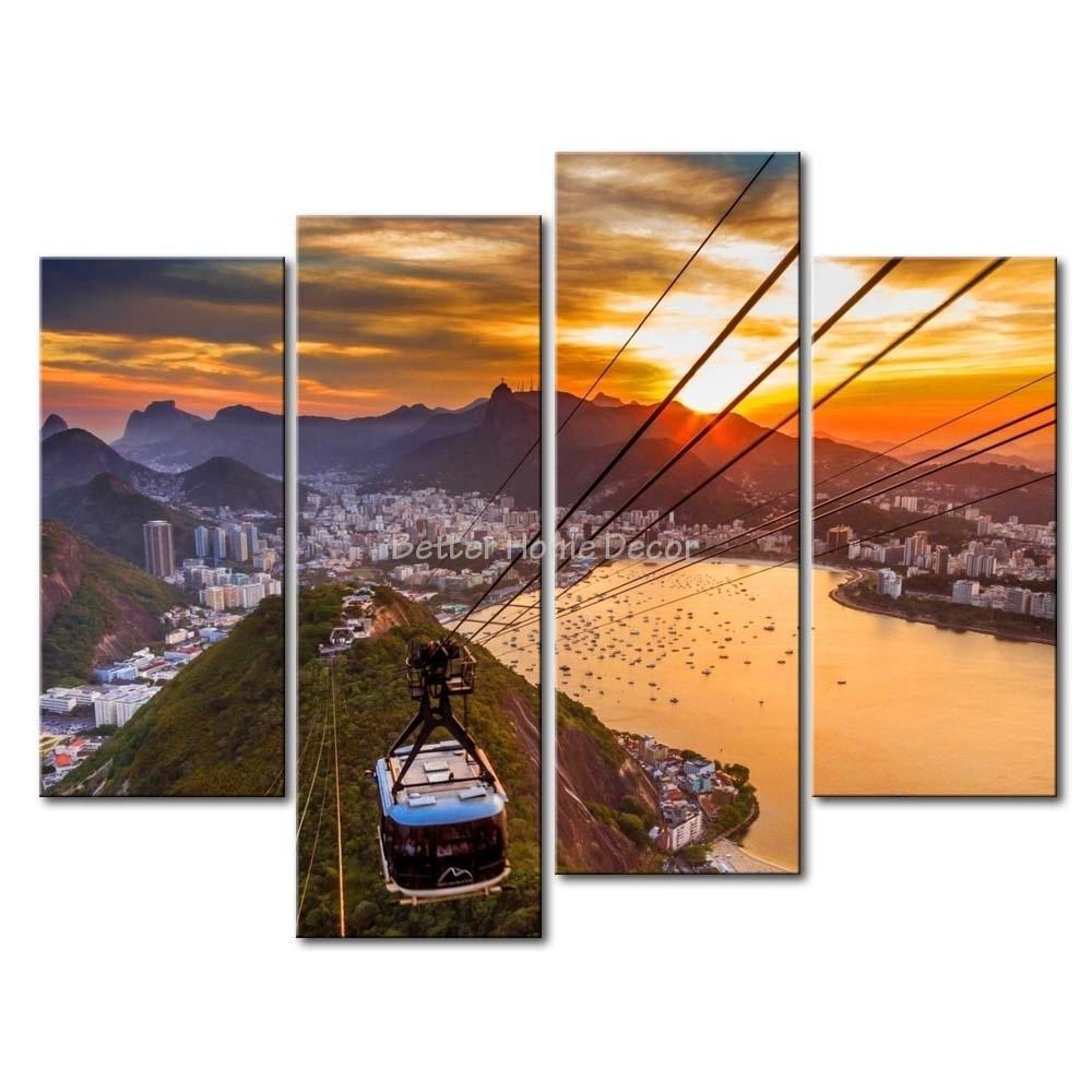 3 Piece Wall Art Painting Rio De Janeiro In Sunset Scene Print On Inside Most Popular Multi Piece Wall Art (Gallery 4 of 20)
