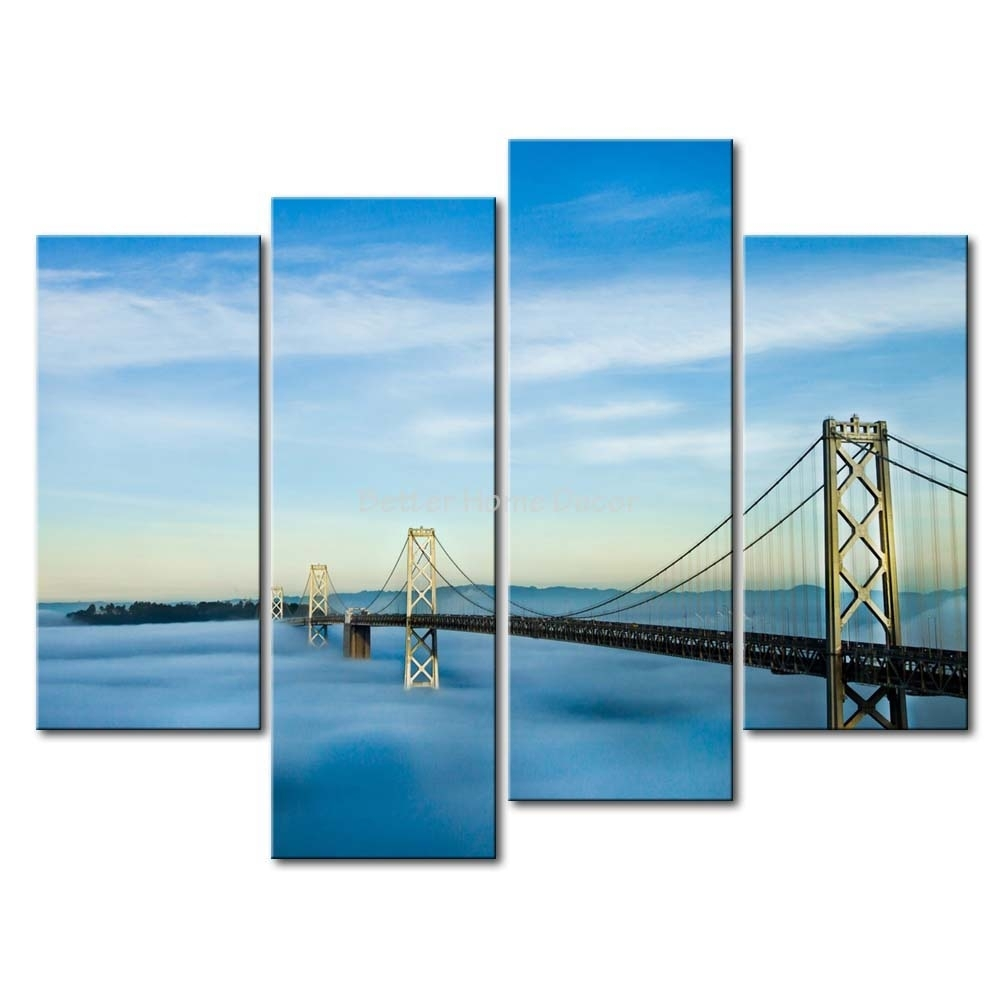 3 Piece Wall Art Painting San Francisco Oakland Bay Bridge Picture In Most Recent San Francisco Wall Art (Gallery 14 of 20)