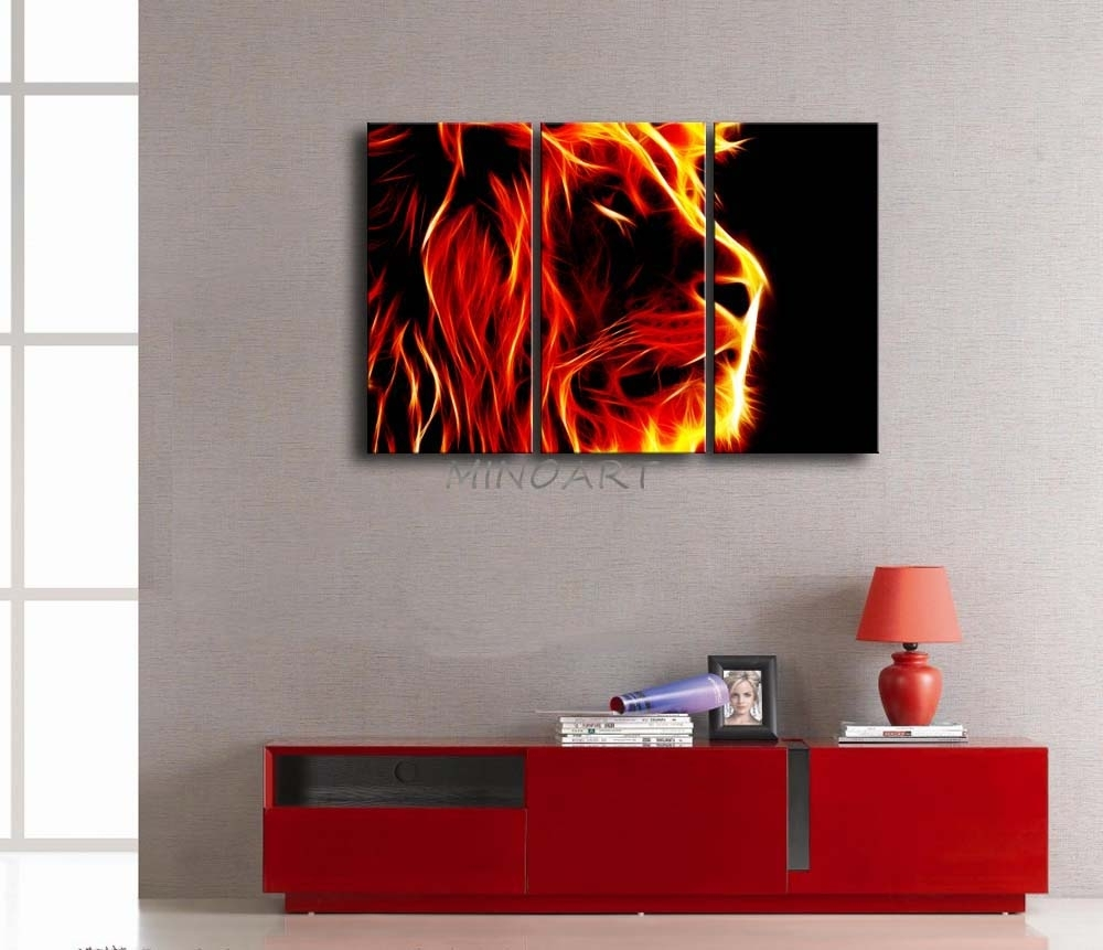 3 Piece Yellow Orange Wall Art Painting Lion Artistic Fire Black With Regard To Newest Orange Wall Art (View 3 of 20)