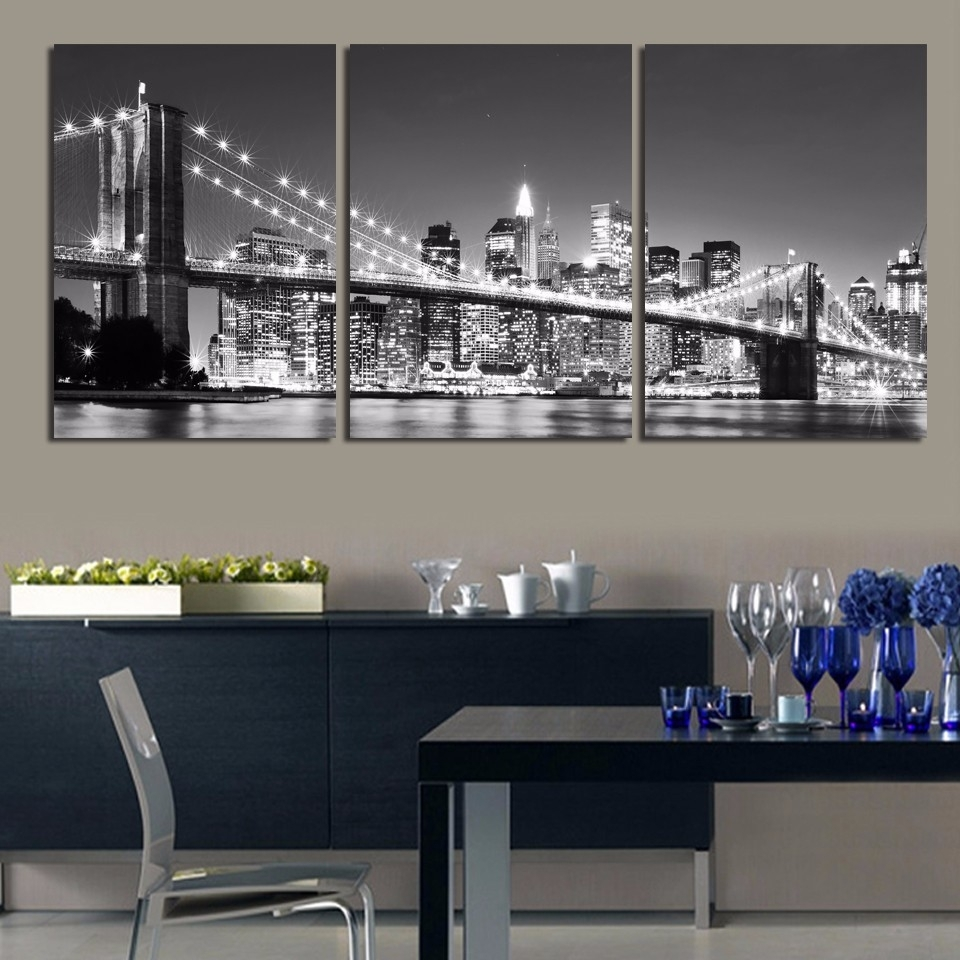 3 Pieces 3 Sizes Wall Decor Home Poster New York Brooklyn Bridge within Current New York Canvas Wall Art