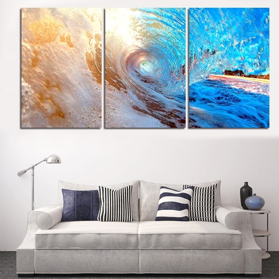 3 Plane Abstract Sea Wave Modern Home Decor Wall Art Canvas Blue Throughout Latest Ocean Wall Art (View 3 of 20)