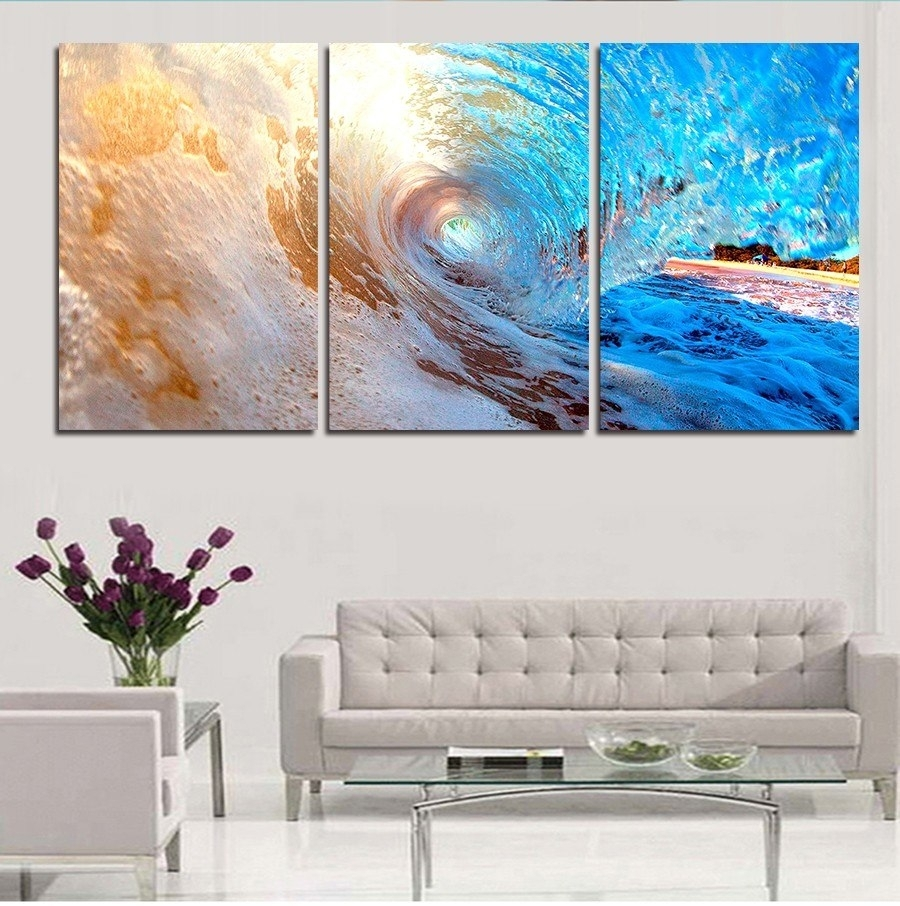 3 Plane Abstract Sea Wave Modern Home Decor Wall Art Canvas Blue With Regard To Most Recently Released Ocean Wall Art (View 4 of 20)