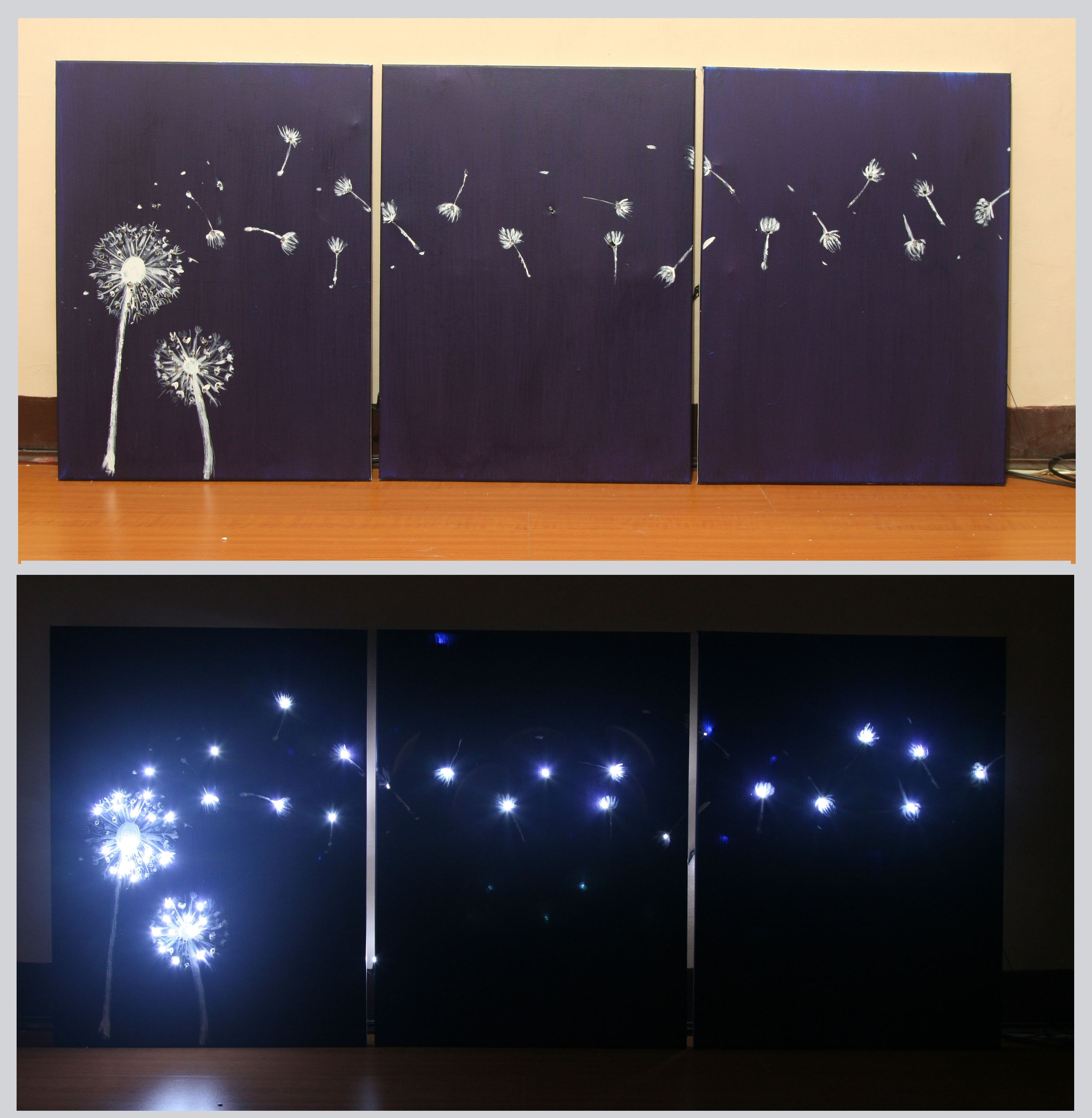 3 Ways To Design Three Panel, Light Up Dandelion Wall Art Pertaining To Most Popular Lighted Wall Art (View 8 of 20)