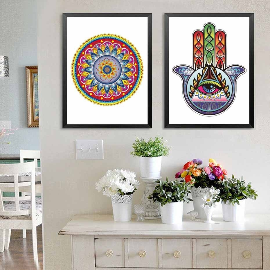 37 Inspirational Hamsa Wall Art Inspiration Of Bohemian Wall Decals Pertaining To Most Up To Date Bohemian Wall Art (Gallery 14 of 20)