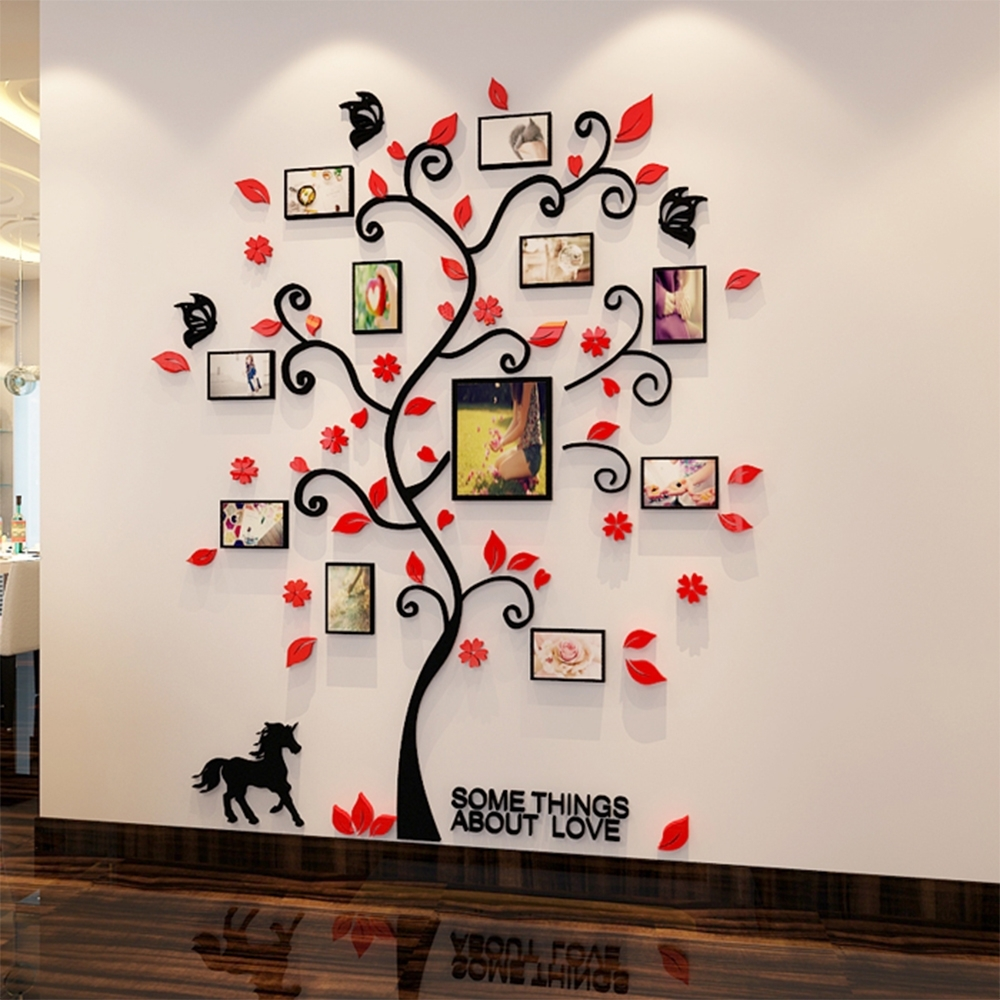3d Acrylic Family Tree Wall Stickers With Photo Frame Living Room For Most Up To Date Family Tree Wall Art (View 4 of 15)