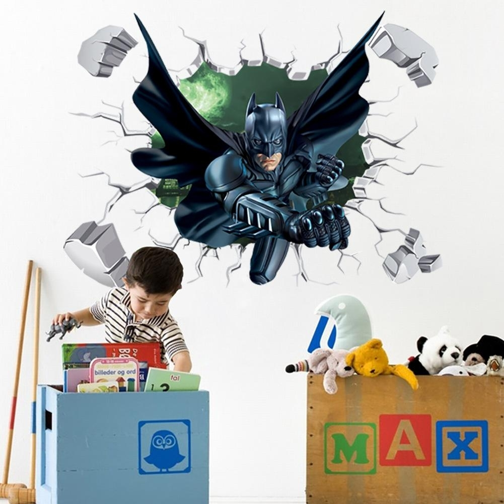 3d Batman Wall Sticker Kids Nursery Room Cartoon Decor Removable Art In Recent Batman Wall Art (Gallery 19 of 20)