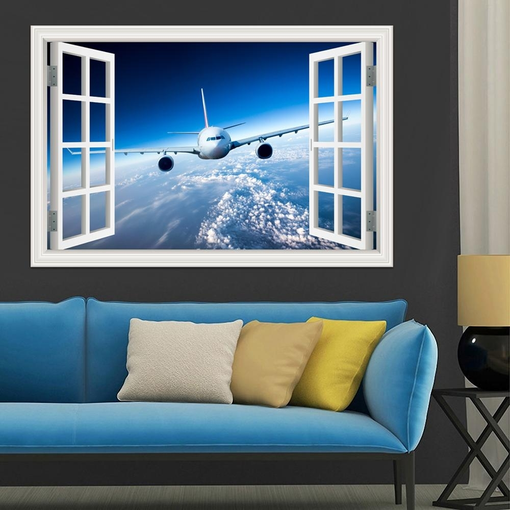 3D Landscape Wallpaper Airplane Wall Sticker Decal Vinyl Wall Art For Most Up To Date Airplane Wall Art (View 5 of 20)