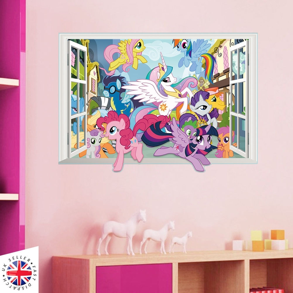 3D My Little Pony Wall Sticker Decal Bedroom Kids Girls Vinyl Art With Regard To Most Recent My Little Pony Wall Art (Gallery 13 of 20)