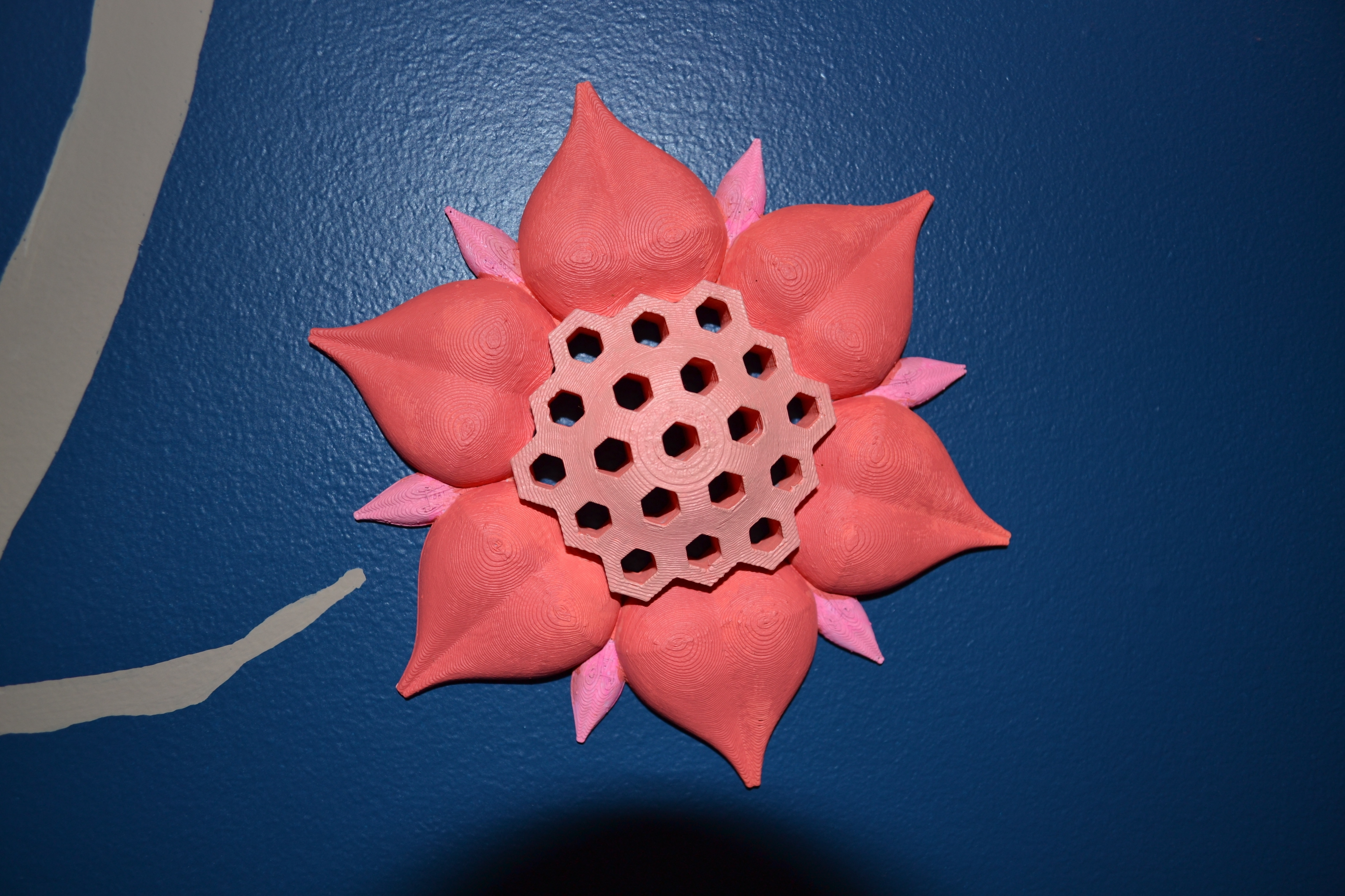 3D Printed Honey Comb Flower Wall Artconcept 2 Creation | Pinshape With Most Current Flower Wall Art (View 5 of 20)