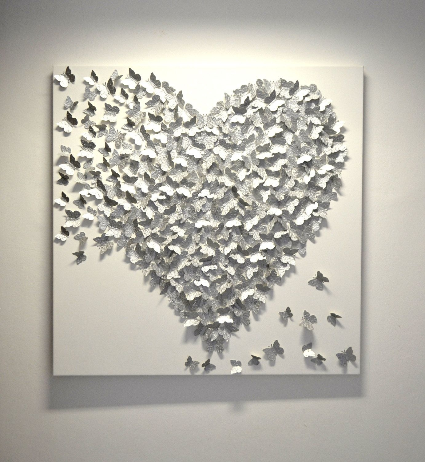 3D Silver Butterfly Art – Hollywood Regency Glam / Modern Statement With Best And Newest Silver Wall Art (Gallery 1 of 20)