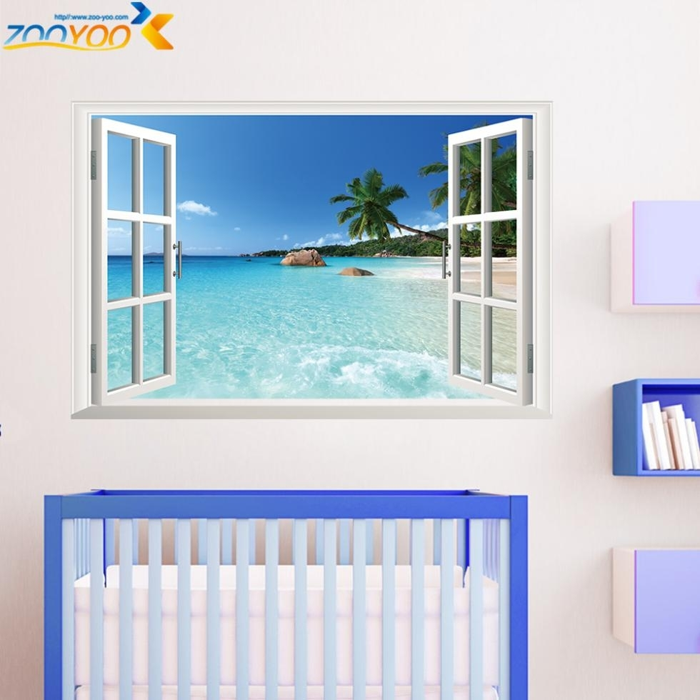 3D Window Frame Whole View Stickers Zooyoo1430 Wall Mural Wall Art Intended For Most Recent Window Frame Wall Art (View 1 of 15)
