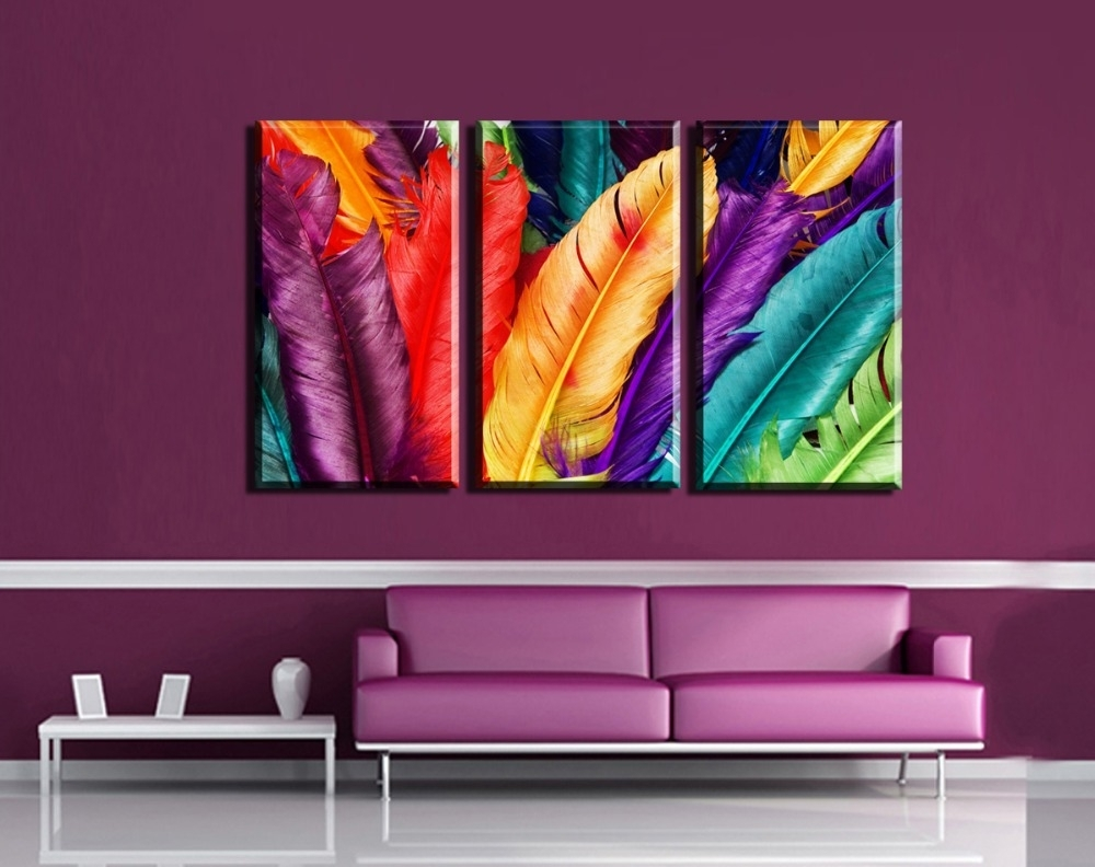 3Pcs Modern Wall Art Canvas Print Colorful Feather Painting Regarding Most Recently Released Colorful Wall Art (View 9 of 20)