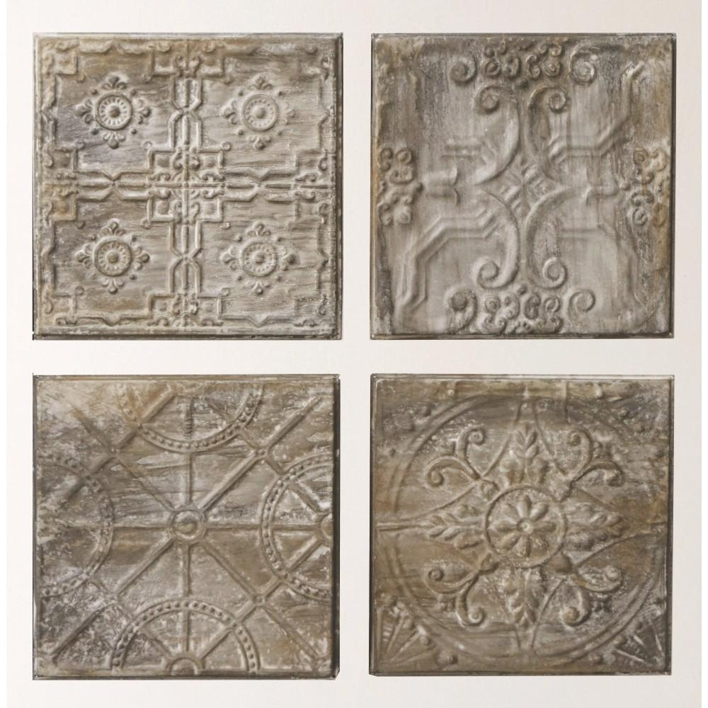 "3R Studios 12.5 In. H X 12.5 In. W ""antiqued Tin Tiles"" Wall Art for Recent Tin Wall Art"