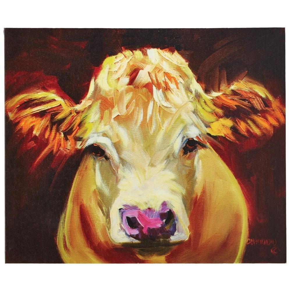 "3r Studios 20.25 In. H X 24 In. W ""one Cow"" Wide Canvas Wall Art Intended For 2017 Cow Canvas Wall Art (Gallery 2 of 20)"