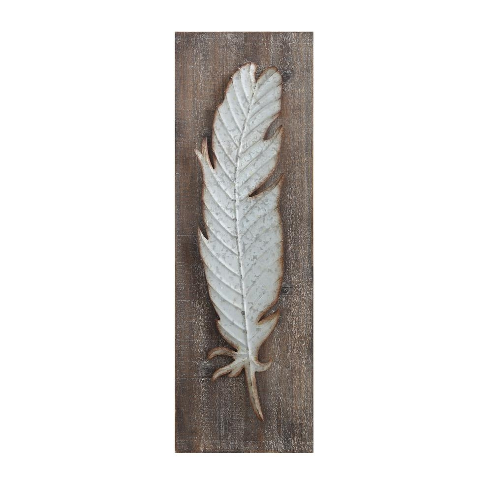 3R Studios Metal Feather Wood And Metal Wall Sculpture-Da5884 - The for Most Recent Feather Wall Art