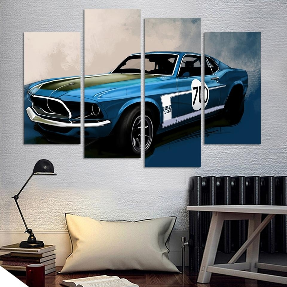 4 Pcs Blue Sports Car Wall Art Painting Home Decoration Living Room Within Newest Car Canvas Wall Art (Gallery 1 of 20)