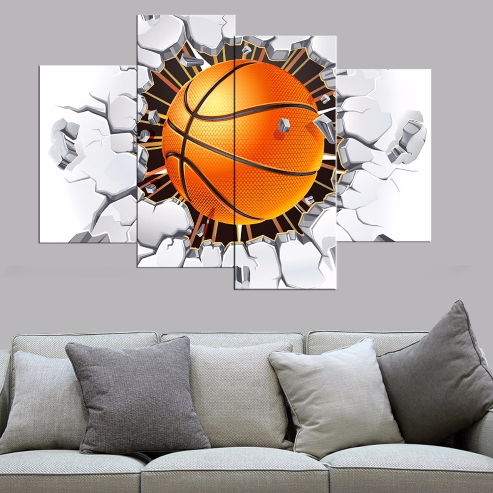 4 Pcs Modern Basketball Canvas Print Poster Bedroom Wall Art Canvas For Latest Basketball Wall Art (Gallery 8 of 15)
