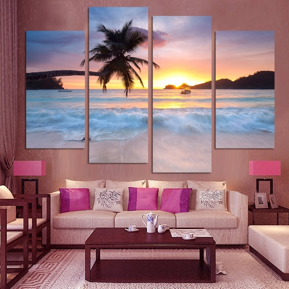 4 Pcs Ocean Sea Wall Art Modular Pictures Sunset Yellow Modern Throughout Best And Newest Ocean Wall Art (Gallery 2 of 20)
