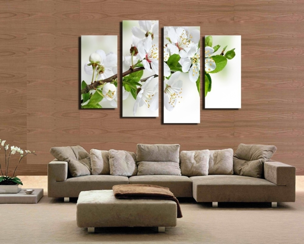4 Pcs Popular Hd Modern Wall Painting White And Green Flowers Home Pertaining To Most Current Popular Wall Art (View 2 of 20)