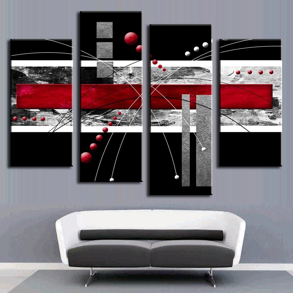 4 Pcs/set Abstract Wall Art Painting Modern Black Background Within Most Recently Released Red Wall Art (View 3 of 15)