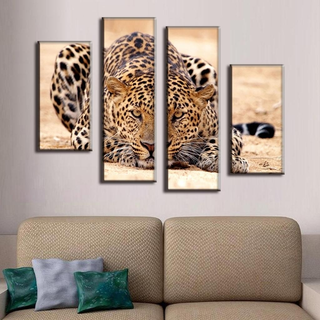 4 Pcs/set Excellent Large Canvas Paintings Animal Wall Art Picture Throughout Most Current Large Canvas Painting Wall Art (View 5 of 20)