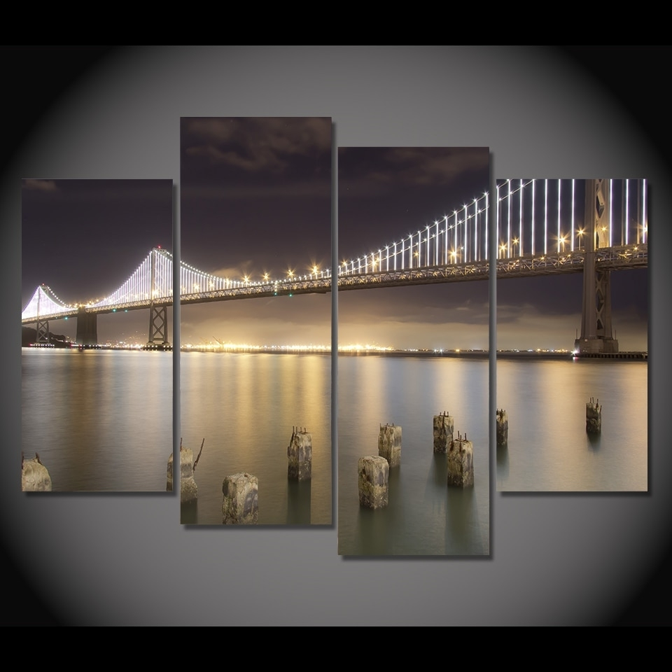 4 Pcs/set Framed Hd Printed San Francisco Bridge Night Picture Wall For Most Popular San Francisco Wall Art (Gallery 1 of 20)