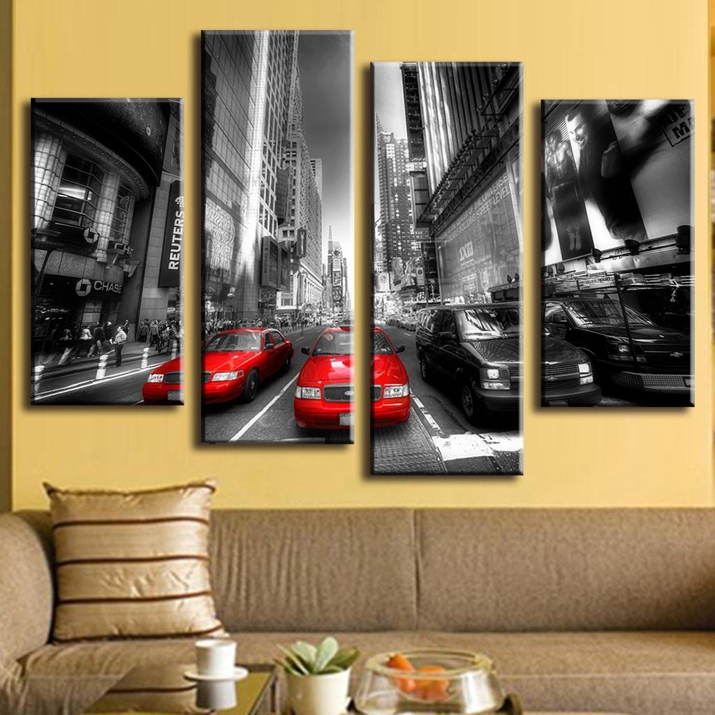 4 Pcs/set New Arrival Modern Wall Painting Canvas Wall Art Picture Regarding Best And Newest Modern Painting Canvas Wall Art (View 3 of 20)