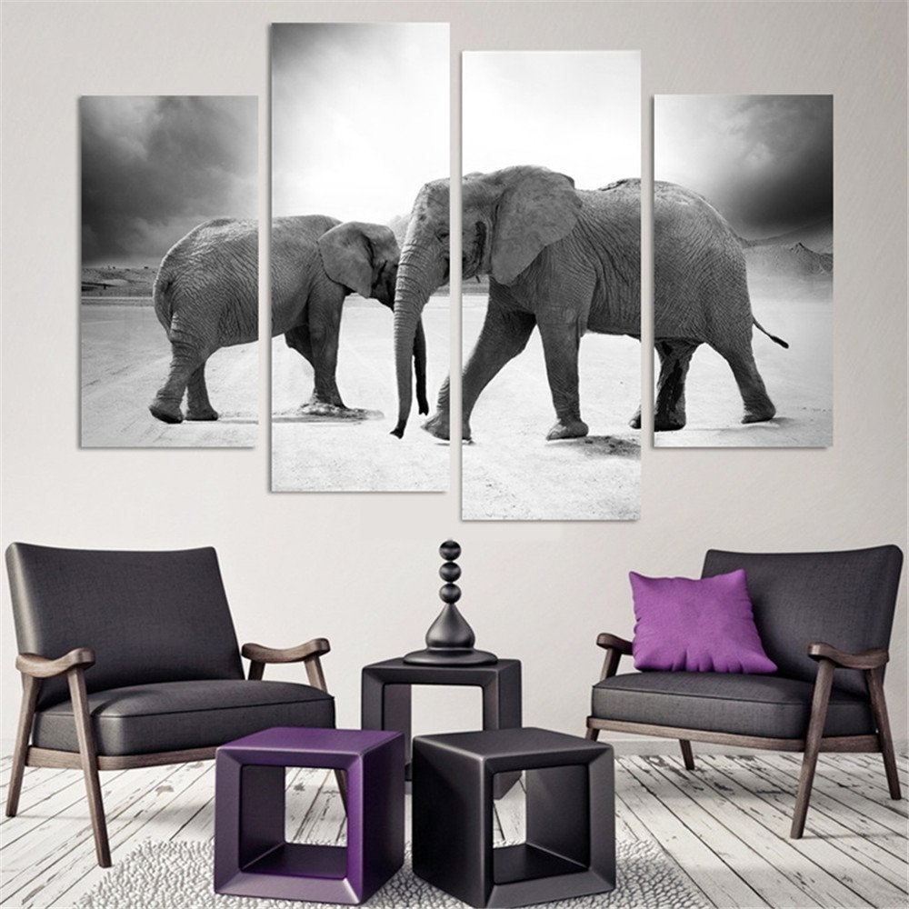 4 Pcs(No Frame) Elephant Painting Canvas Wall Art Picture Home For Newest Elephant Canvas Wall Art (Gallery 14 of 20)