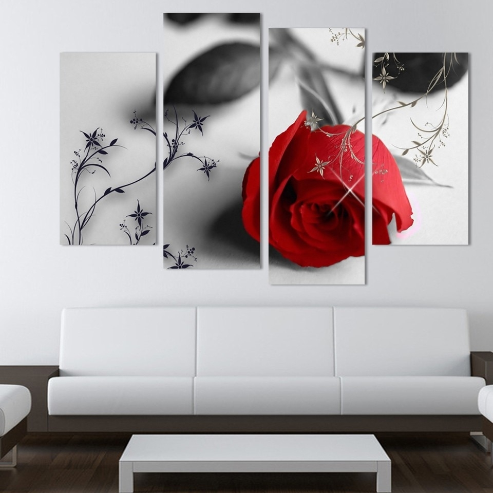 4 Piece Beautiful Red Rose Flowers Wall Painting Modern Home Living With Recent Modern Wall Art (View 3 of 15)