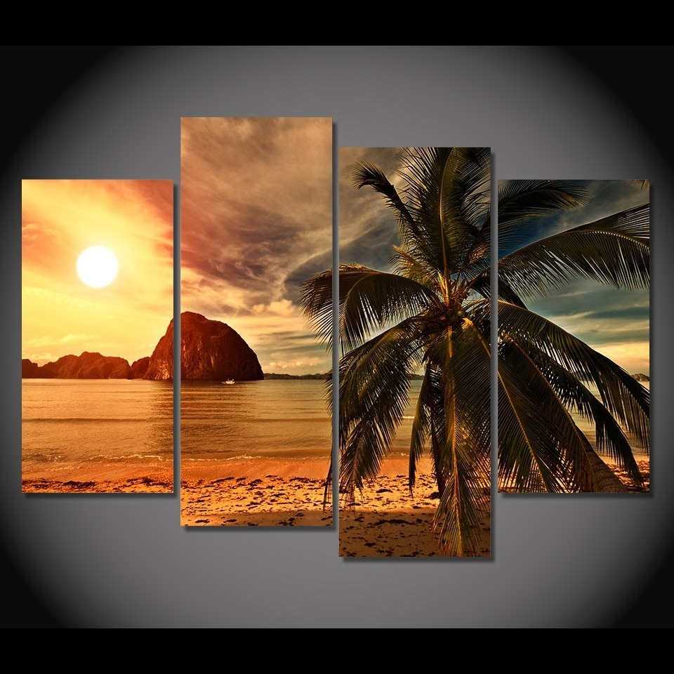 4 Piece Canvas Art Canvas Painting Tropical Palm Tree Hd Printed With Latest Palm Tree Wall Art (View 2 of 20)