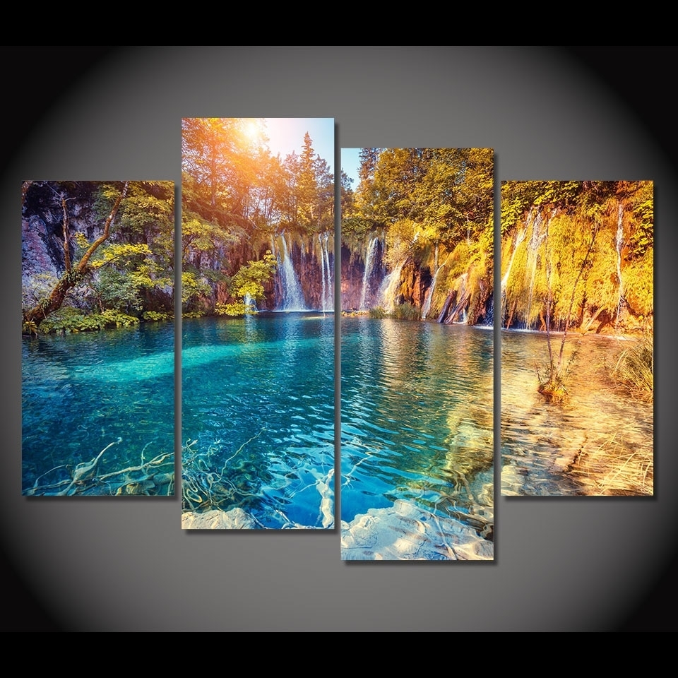 4 Piece Canvas Painting Clear Pool Nature Hd Printed Canvas Art Inside 2017 Nature Wall Art (Gallery 6 of 20)