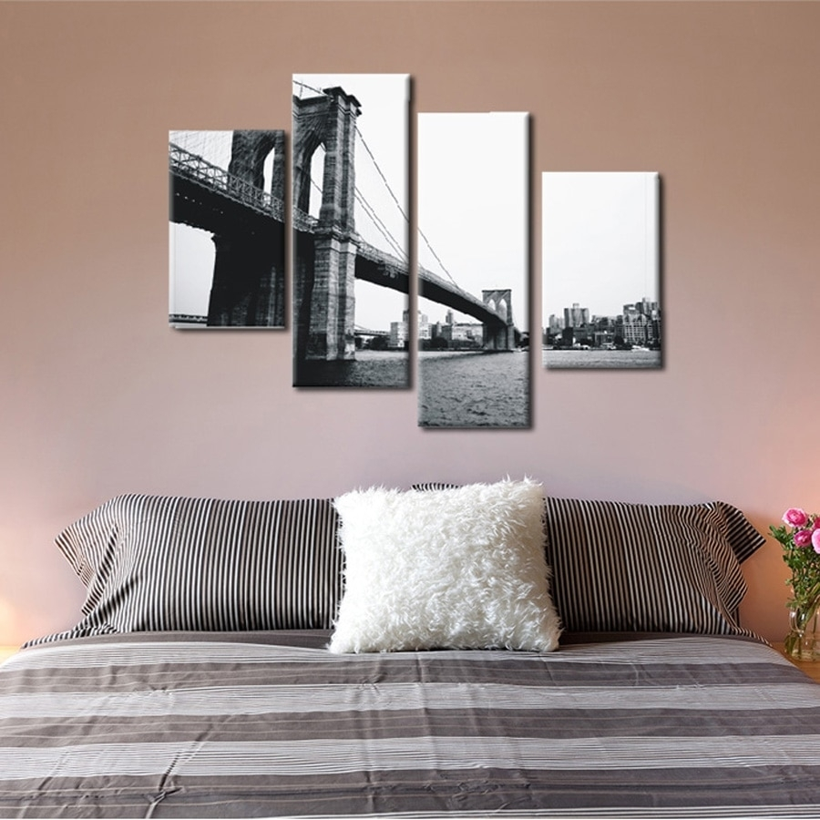 4 Piece Canvas Prints Christmas Gift Abstract Grey Canvas Wall Art Regarding Recent Gray Canvas Wall Art (View 6 of 20)