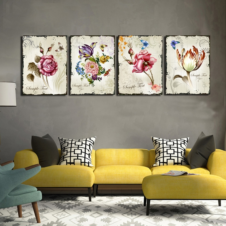 4 Pieces Classic Floral Wall Art Canvas Prints Flower Combination Within 2018 Floral Wall Art (Gallery 5 of 20)