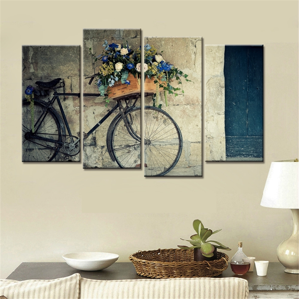 4 Pieces Home Decor Drop Shipping Cheap Wall Art Decorative Painting Throughout Most Popular Cheap Wall Art (Gallery 3 of 15)