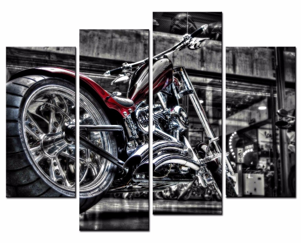 4 Pieces Motorcycle Wall Art Picture Home Decoration Living Room Inside Latest Motorcycle Wall Art (Gallery 6 of 20)
